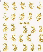 6 PACKS / LOT Gold/ Silver  Water Stickers Metallic Nail Decals FLOWER BUTTERFLY  VIOLET AZALEA ORCHIS SYT019-024