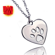 Cute Animal Foot Print Heart Love Bijoux Necklace Costume Jewelry Dog Cat Paw Charm Pendants Memorial Gift For Girls Women(China)