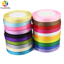 "10mm 3/8"" 25Yards Colorful Silk Satin Ribbon For Wedding party cake Gift Decoration DIY Craft Wrapping Supplies Riband(China)"