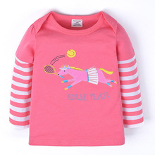 girls cartoon horse play tennis striped sweatshirt kids long sleeve pullover child coat 100% cotton children wear size1-6years