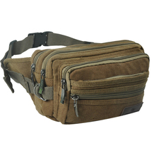 High Quality Men Canvas Waist Bag Vintage  Mini Chest Pack Belt Bags Fashion New Men Small Travel Money Phone Bags