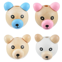 MJARTORIA 10PCs Cartoon Lovely Smiling Big Nose Bear Wood Beads For Jewelry Making Diy Pacifier Clips For Babys Findings Craft