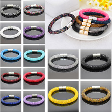 Crystal Bracelets Mesh Chain With Full Resin Crystal Magnetic Wrap Bracelet With Tiny Resin Crystal Filled Magnetic Wrap Bracele(China)