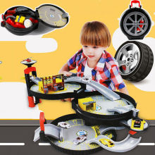3 Storey City Parking Garage Toy City Car Truck Vehicle Auto Car Spiral Roller Rail Alloy Vehicles Kids Tire Carrying Case