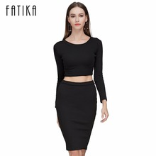 FATIKA New Autumn Winter 2 Piece Set Women Long sleeve party dresses Sexy bandage dress women dress  CA70A