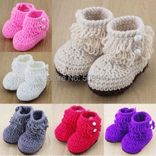 Loops Design Cotton baby shoes Newborn Crochet Toddler Shoes Baby First Walker Shoes wool yarn Baby boots 1 pair 4 colors