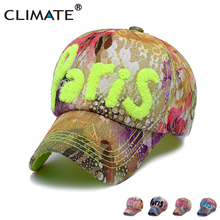 CLIMATE 3D Paris Logo Nice Flowers Fancy Baseball Caps Sport Active Casual Hat One Size Adjustable For Young Women Girls Lady(China)