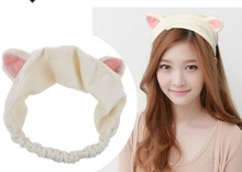 1PC New Korean Velvet Cat Ear Headband Women Hair Accessories Wash Shower Cap Head Ornaments Elastic Hair Band Headband