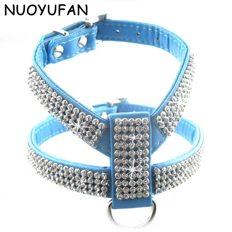 NUOYUFAN Pet Collar Dog Necklace Adjustable Quick Release Puppy Shining diamond Harnesses PU Dog Collar Leads(China (Mainland))