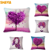 SMAVIA Popular Purple Trees Design Cushion Covers Purple Butterfly Portraits Pillowcase Car/ Chair/ Sofa Pillow Covers 45*45 cm(China)
