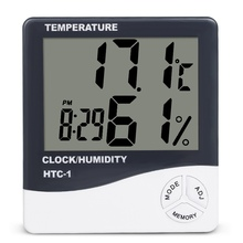 Indoor Room LCD Electronic Temperature Humidity Meter Digital Thermometer Hygrometer Weather Station Alarm Clock HTC-1(China)