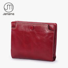 Jamarna 2017 Female Short Wallet Genuine Leather Oil Wax Bifold Coin Purse Card ID Holder Photo Pocket Small Wallet Red New