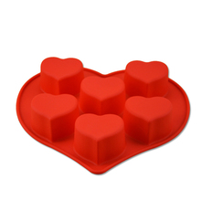 Love Hearts Shape Good Quality 100% Food Silicone Cake/Jelly/Pudding/Chocolate Mold/Muffin Cupcake Cake Tools D751(China)