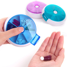 Circular rotating pill box 7 Slots Round Daily Weekly Tablet Pill case Splitters Medicine Tablet Holder Organizer Dispenser
