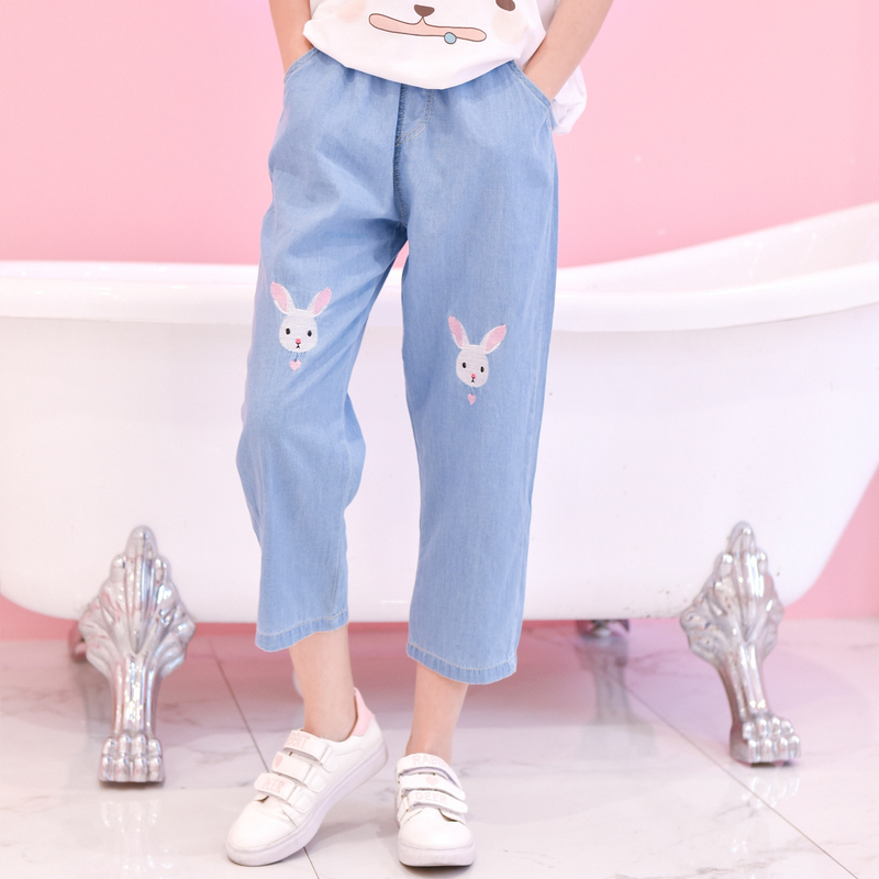 Light Blue Deep Blue Kawaii Bunny Embroidery Jeans Pants Women Summer Casual Straight Pants With Pockets Fashion Ninth Pants4