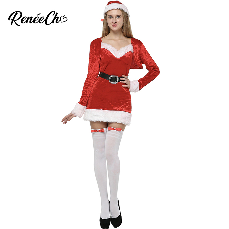 RED VELVET HOLIDAY CHRISTMAS MS  MRS SANTA  HALLOWEEN COSPLAY COSTUME ONE SIZE