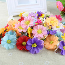 Hoomall 100PCs Silk Sunflower Artificial Flowers Wedding Party Decoration DIY Scrapbooking Wreath DIY Head Crafts Fake Flowers