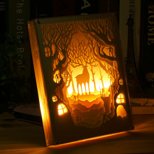 Ivory White Multi Layer Paper Paint Night Light Draw Painting Home Decoration Table Lamp Super Bright Night Lamp with Frame