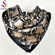 [BYSIFA] Snake Print Black Satin Square Scarves Headscarves 90*90cm Winter Women Shawls Scarves Wraps Summer Air-condition Shawl(China)