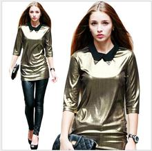 Spring Summer 2017 new Euro and US women slim golden long blouse Roupas femininas half sleeve punk sparkling rendering Y03161