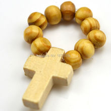 wooden finger ring with cross(China)