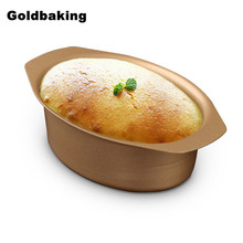 Gold Color Carbon Steel Non Stick Mini Cheese Cake Mold Small Loaf Pan Oval Shaped