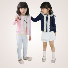 CN Spring and fall Girl coat Cotton + lace decoration Pink and navy Girl jacket 2-6 year old Kids girl clothes