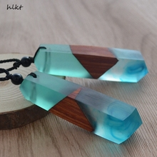 hlkt  New fashion hand wood resin necklace pendant, men and women applicable jewelry, knitting rope, gifts, wholesale