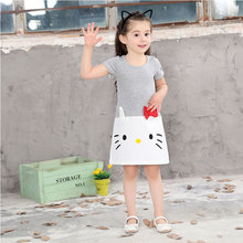 2017 girls pack hello kitty dress print cotton 2-8T girls clothes Korean gray princess  with hello kitty