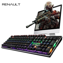 RENAULT Russian/English Mechanical Keyboard 87/104 Keys Backlit Blue Switch LED Backlight Keyboard for PC Tablet Teclado Gamer