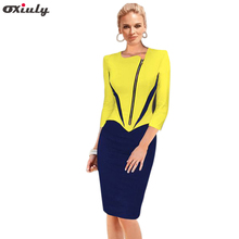 Oxiuly Winter and Autumn Dresses Print Patchwork Contrast Color Three Quarter Sleeve Women Wear to Work Bodycon Woman Dresses(China)