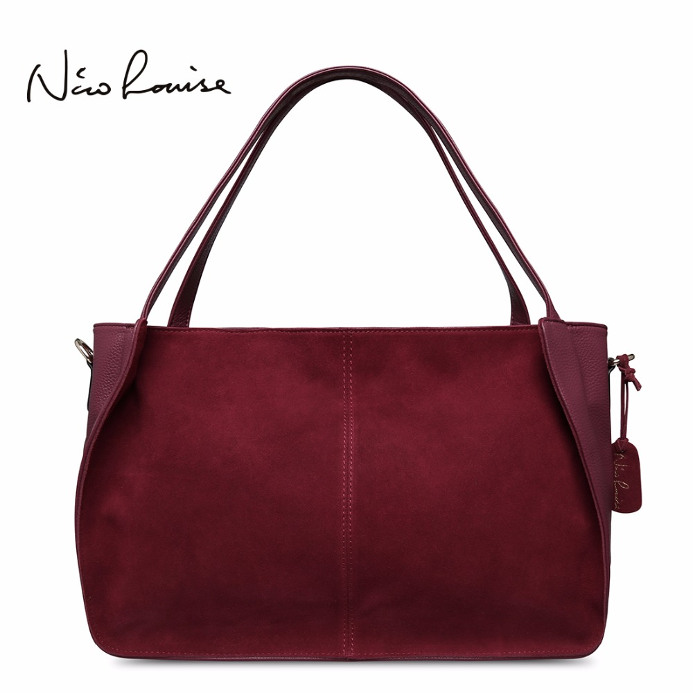Nico Louise Women Real Split Suede Leather Tote Bag Solid Leisure Large Top-handle Bags Lady Casual Crossbody Shoulder Handbag <br>