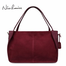 Nico Louise Women Real Split Suede Leather Tote Bag Solid Leisure Large Top-handle Bags Lady Casual Crossbody Shoulder Handbag(China)