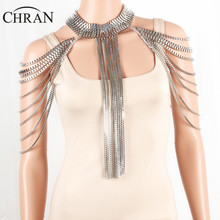 CHRAN Silver Full Metal Body Shoulder Chain Jewelry Necklace Waist Bikini Harness Dress Decor Slave Body Chain Jewellry
