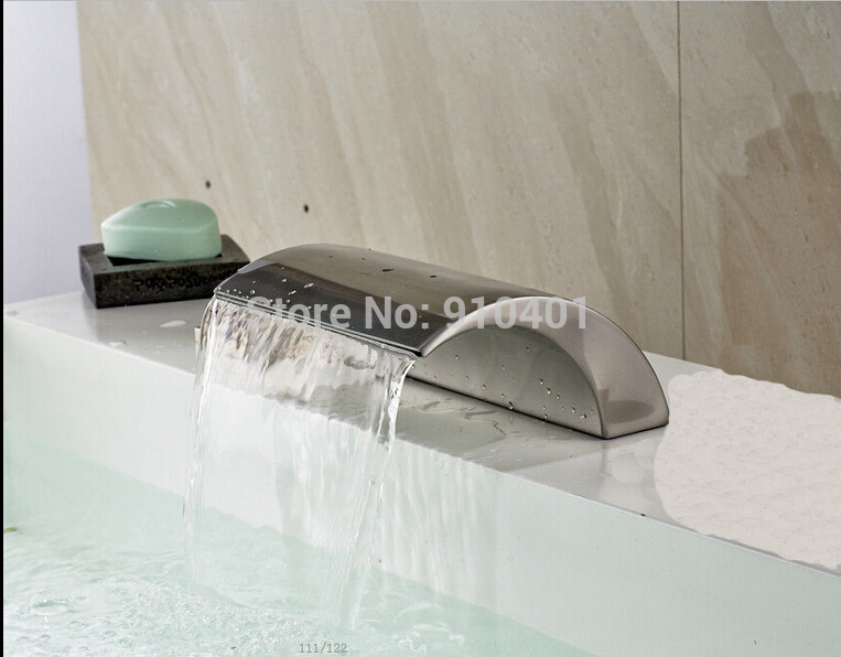Brushed Nickel Waterfall Solid Brass Bathroom Faucet Spout Tub Spout Tap Sprayer<br><br>Aliexpress