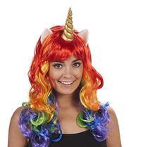 Halloween Cosplay Pony Rainbow Dash Multi Color Heat Resistant Synthetic Hair Party Unicorn Wig Carnival Party Wig With Headband(China)