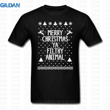 Print T Shirt Summer Gildan Crew Neck Men Comfort Soft Short Sleeve Merry Christmas Ya Filthy Animal Shirt