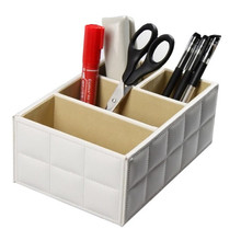 New PU Leather Mobile Phone Remote Control Holder Storage Box Desk Accessories Tidy Cosmetics Storage Container for Home Office