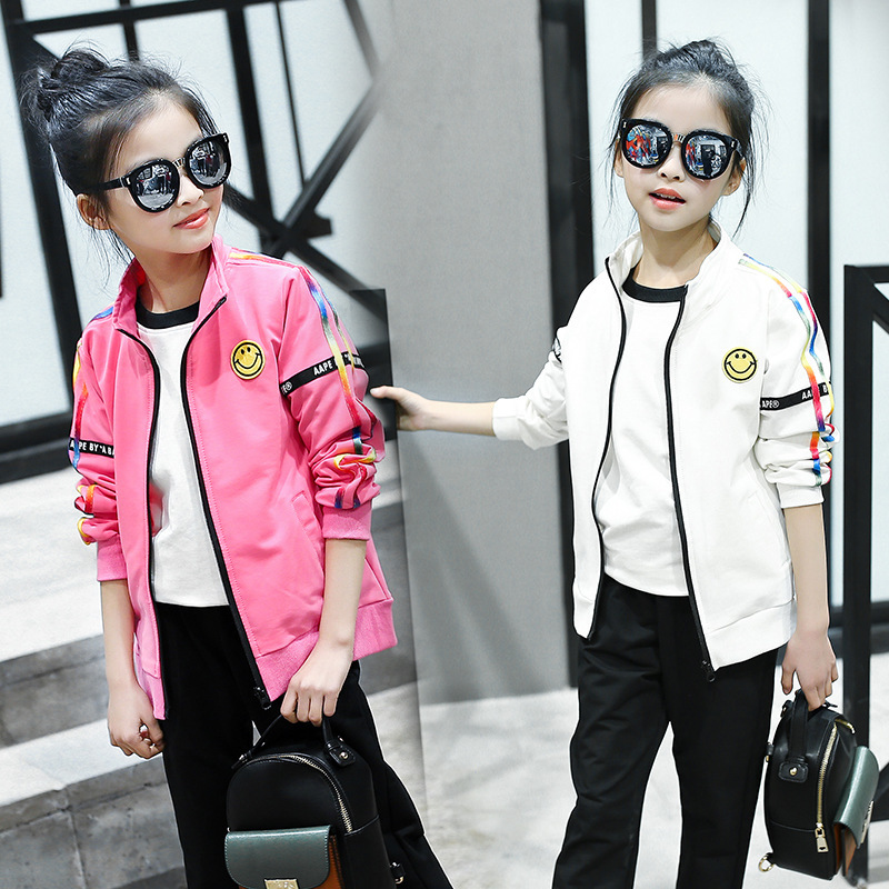 Spring Clothes New Pattern Girls Hanban Fashion Trend Cartoon Leisure Time Child Suit 2 Pieces Kids Clothing Sets<br>