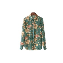 2017 Fashion Green Multicolored Floral Print Satin Shirts Women Autumn Blouses Yellow Flowers Lapel Button Chiffon Ladies Shirts(China)