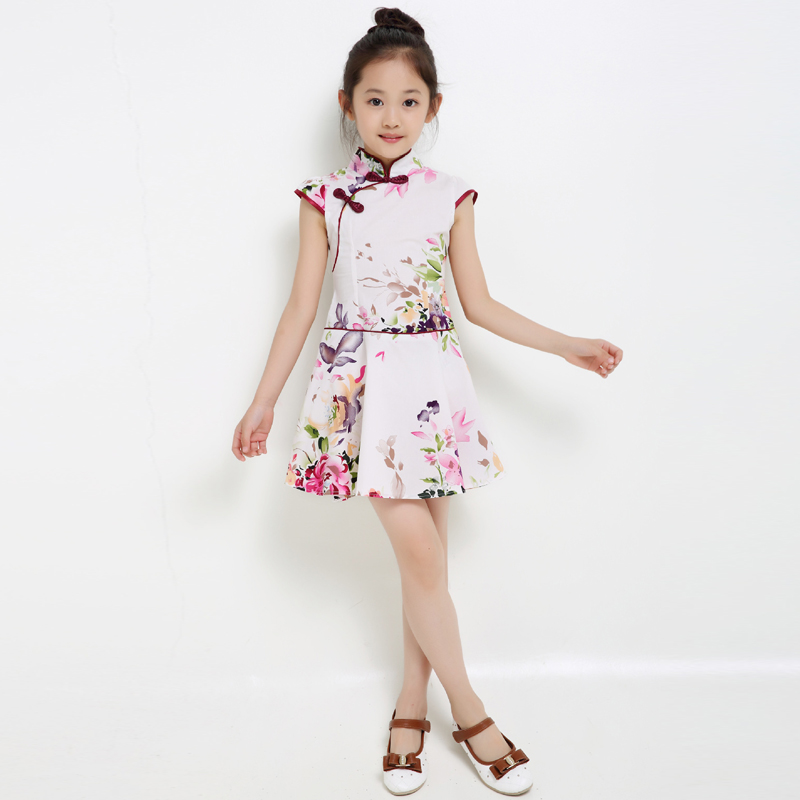 ZAPUYO New Brand Chinese Traditional Garments Girls Cheongsam Children Chinese A-line Elegant Dresses 2017 Spring/Summer New<br><br>Aliexpress