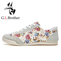 G.L.Brother Flat Shoes Women Canvas 2017 Women Casual Shoes Flower Spring Lace-Up Women Flats Floral Shoes