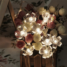 10M 80 LED Cherry Blossom Fairy String Lights Peach Flower Battery Operated Christmas Xmas Holiday Wedding Party Decor