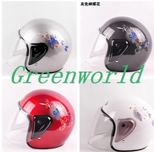 Free shipping New brand fashion half face white silver black red motorcycle motorbike anti-UV summer women female helmet  h-0090