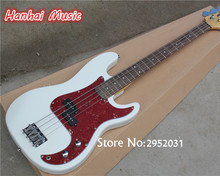 Hot Sale Custom 4-String Bass Guitar with White Color,Red Pickguard,2 Open Pickups,Maple Neck,can be Customized
