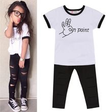 2017 Direct Selling New Arrival O-neck Letter 2pcs Toddler Kids Baby Girls Outfit T-shirt Tops+long Pants Leggings Clothing Set