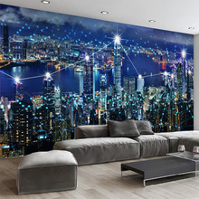 Photo Wallpaper HD 3D Stereo Hong Kong Night Landscape Background Wall Mural Living Room Dining Room Decor Wallpaper Papel Mural