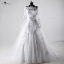 RSW933 Off The Shoulder Long Sleeves Lace Vintage Wedding Dress Casamento Trouwjurk