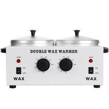 DOUBLE Wax Warmer Professional Electric Heater Dual Paraffin Hot Facial Skin Equipment SPA Adjustable Temperature Set 220V(China)