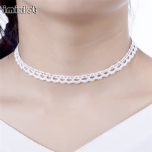 imixlot New Hot Trend Fashionable Handmade Crochet Thread Lace White Small Flowers Choker Necklace For Women Girls